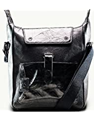 Twach Sail Leather Cross Body Leather Bag (Black)