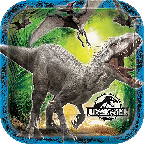 Square Jurassic World Dinner Plates, 8ct