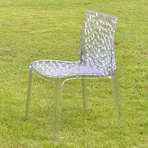 Lycheers Jb-Ac316 Hollowed-Out Pattern Fashion Design Modern Home Acrylic Plastic Transparent Dining Chair Set Of 2