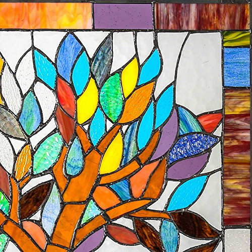 "River of Goods 15042 Tiffany Style Stained Glass Mystical World Tree Window Panel 18"" H 1"