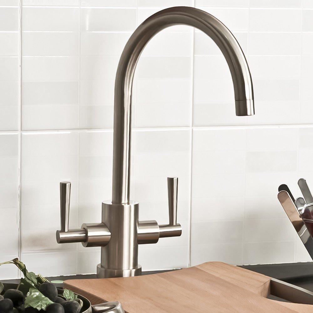 paris brushed steel kitchen sink mixer tap - Brushed Steel Kitchen Sinks