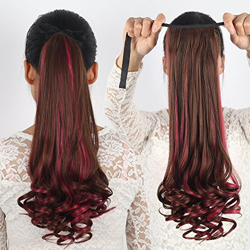 Ladies gradient PEAR two-tone color pick color highlights ponytail ponytail tied long curly ponytail brown red ponytail