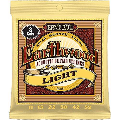 Ernie Ball 3004 Earthwood Light 80/20 Bronze Acoustic String Set, 3 Pack, .011 - .052