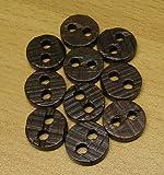 10 Hemden Blusen Knopf 14 mm Echt Holz