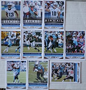 2013 Score Football Tennessee Titans Team Set In a Protective Case - 10 cards including Wright (2), Johnson (2), Brown, Britt, Locker (2), Washington, and Greene.