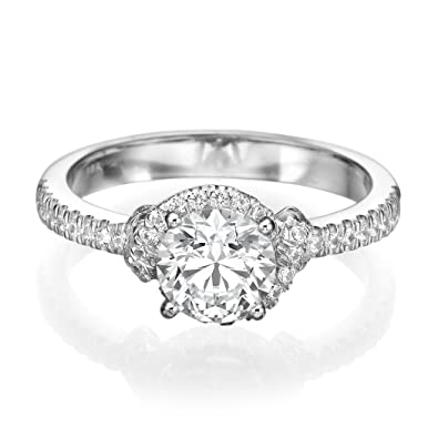 3/4 CT Unique Engagement Ring made with 14ct White Gold Set with a H-I/I1-I2 Round Cut Main Stone