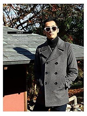 メンズ 日本製 高密度 プレミアム メルトン ウール ミドル pコート おしゃれ ピーコート メルトンウール コート 無地 厚手 防寒 暖かい スリム 細身 ビジネス 大きいサイズ m l xl (ll) 冬 グレー LL