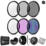 Zeikos 52MM Neutral Density Filter Set (ND2 ND4 ND8), Multi-Coated UV-CPL-FLD Filter Set, Tulip Flower, and Rubber Collapsible Lens Hood, Lens Cap and