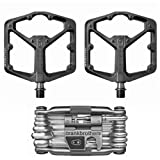 Crank Brothers Stamp 3 Large Lightweight Bike Pedals Pair (Black) and M19 Bicycle Maintenance Multi-Tool (Color: black)