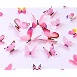 kakuu 36PCS Butterfly Wall Decals - 3D Butterflies wall stickers Removable Mural decor Wall Stickers Decals Wall Decor Home Decor Kids Room Bedroom Decor Living Room Decor- Pink (Color: Pink)