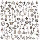 KeyZone Wholesale 100 Pieces Mixed Charms Pendants DIY for Jewelry Making and Crafting (Color: Mixed)