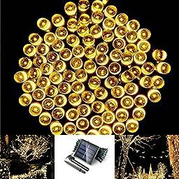 Solarmks DZ-0200 Solar String Lights Outdoor Garden 72ft 200 Led Christmas Lights Warm White