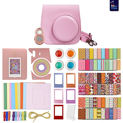 FujiFilm Instax Mini 8 PINK MiniMate Accessory Bundle. Kit includes: Case, Frames, 64 page Photo Album, Selfie Lens, Colored Filters and more (Fujitsu Polaroid Film compare prices)