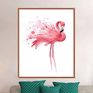 Oil Painting on Canvas, YINASI DIY Painting by Numbers Kits for Adults, Abstract Flamingo Paints Wall Art Home Decor for Bedroom Living Room 40X 50CM (Color: Pink, Tamaño: 40*50cm)