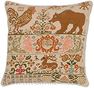 Needlepoint Pillow Decoration Crossword : Amazon.com: Handmade 100% Wool Decorative Needlepoint Rooster Bear Folk Amercian Sampler Throw ...