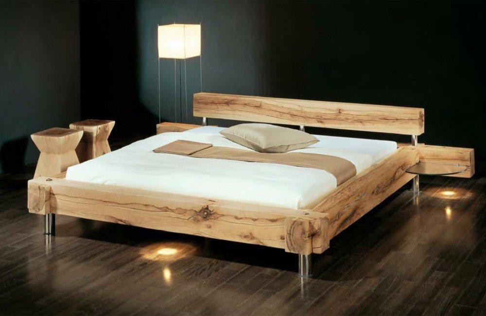 Massivholzbett Balken-Bett – rustikales Designerbett, Größe:180x200cm günstig online kaufen