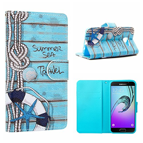 MOONCASE Galaxy A3 2016 Bookstyle Case, [Sea Travel] Flip Pu Leather [Card Slot] Wallet Folio Kickstand Case Cover for Samsung Galaxy A3 (2016) A310