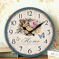 Romantic Sweet Roses Clock, 12 Eruner Rustic Floral Style Wall Clock *Home* Wooden Art Decor Non-Ticking Bedroom Study Desk Home Decoration(C-60)