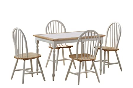 Boraam 80130 Tile Top 5-Piece Dining Set, White/Natural