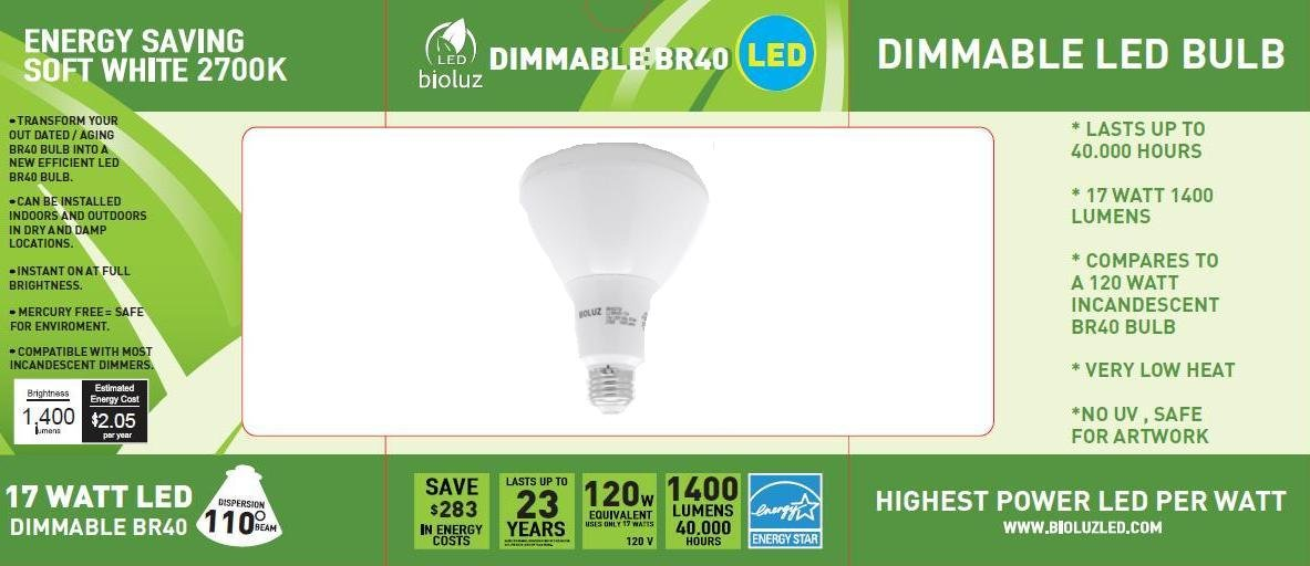 Bioluz LED Br40 Smooth 17w = 120w Equiv 2700k 1400 Lumen Dimmable ...