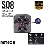 RETECK SQ8 Mini DV Camera 1080p Full HD Car DVR Body Motion Detection Night Vision Nanny Video Recorder Camcorder For Home Security (Color: Black, Tamaño: 0.8 Inch)