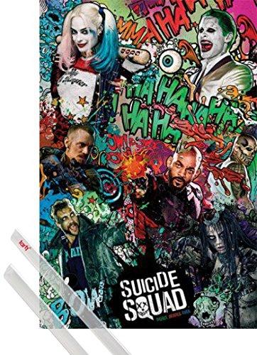 Poster + Sospensione : Suicide Squad Poster Stampa (91x61 cm) Crazy e Coppia di barre porta poster trasparente 1art1®