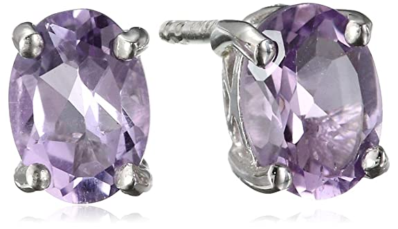 Sterling Silver Oval Gemstone Earrings