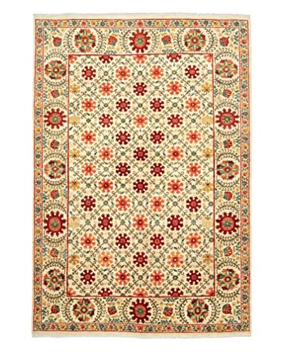 Darya Rugs Suzani Oriental Rug, Ivory/Orange, 6' 2 x 8' 10