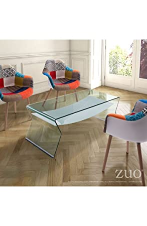 Yoga Coffee Table Clear & Frosted. A solid arch of semi-tempered glass, the Yoga Table reduces clutter while adding style. Lends a graceful zen to any space. We could all use a little graceful zen.