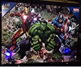 Edge Home Products Avengers Canvas with LED Lights, 12 by 16, Blue