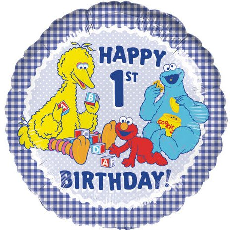 18 Inch Sesame Street 1st Birthday Balloon