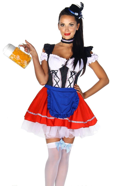 Traumhaftes Dirndl rot/schwarz/weiß Kleid günstig bestellen