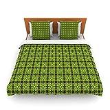 "Kess InHouse Matthias Hennig ""Floral Green"" Floral Geometric King Fleece Duvet Cover, 104 by 88-Inch"