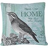 SimpleDecor Jacquard Bird Accent Decorative Throw Pillow Covers Sofa Home Bird Cushion Cover 18X18 (Blue, Black, White, Square, 1 Cushion Sham for 18 x 18 Inserts)