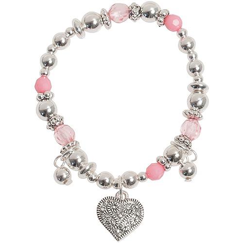 Heirloom Finds Little Girl Silver Tone Heart Pink Crystal Charm Bracelet