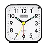 Peakeep Small Battery Operated Analog Travel Alarm Clock Silent No Ticking, Lighted on Demand and Snooze, Beep Sounds, Gentle Wake, Ascending Alarm, Easy Set (Black) (Color: Black)