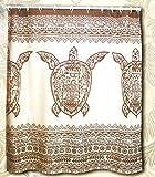 Hawaii Theme Shower Curtain Brown Sea Turtle