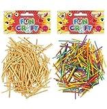 Pack of Coloured Wooden Matchsticks Kids Craft Card Making Modelling
