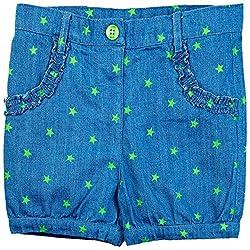 Oye Girls Denim Printed Shorts - Blue/Green (3-4Y)
