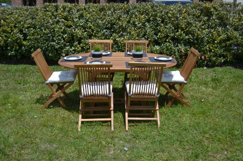Teak Oval Extension Dining Table & Fonlding Chair Set (7 Pcs) - Outdoor Patio Furniture