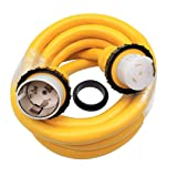Parkworld 60929 Marine Shore Power Extension Cord 50 AMP SS2-50P to SS2-50R, Marine Shore Power Cord SS2-50 male to female 50A 125V/250V (15FT) (Color: Yellow, Tamaño: 15 ft)