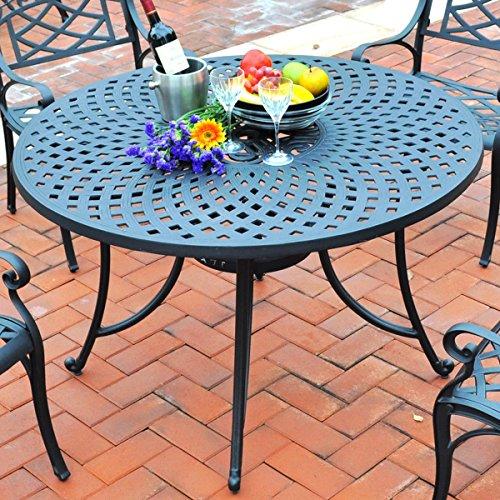 Crosley Furniture Sedona 48-Inch Cast Aluminum Dining Table, Charcoal Black (Cast Aluminum Patio Table compare prices)