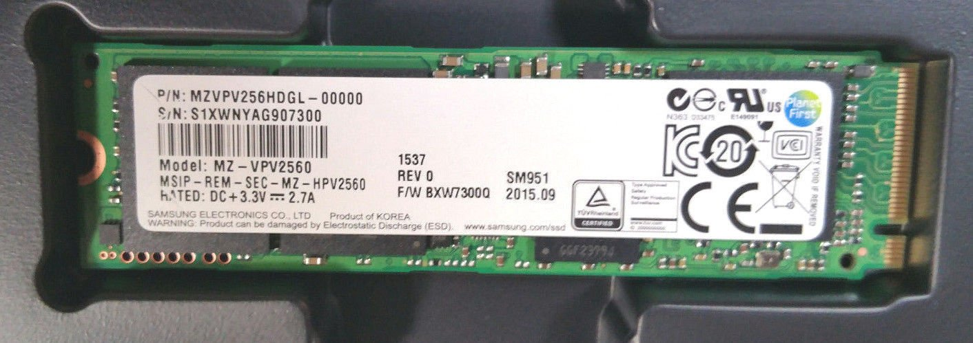 Samsung SSD NVMe MZVPV256HDGL-00000 SM951 256GB M.2 PCI Express 3.0 OEM