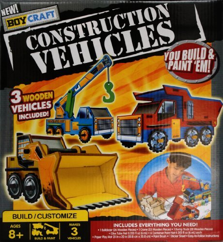 New Boy Craft Construction Vehicles You Build and Paint 'Em 3 Wooden Vehicles Included Includes Everything You Need - 1