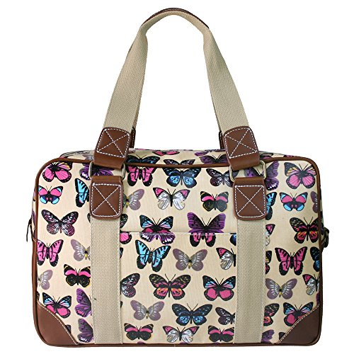 Miss Lulu Ladies Owl Butterfly Floral Polka Dot Print Oilcloth Travel <strong>Overnight< strong> Weekend School <strong>Bag< strong>