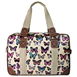 Miss Lulu Ladies Owl Butterfly Floral Polka Dot Print Oilcloth Travel Overnight Weekend School Bag