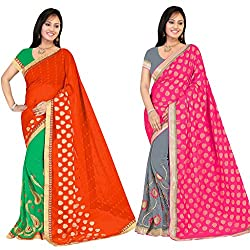 PARISHA Jacquard & Georgette Embroidered Women's Saree Combo HSORANGE-GREY (Grey & Orange)