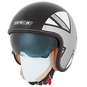 nouveau casque de moto Spada raser Empire noir/argent/gris