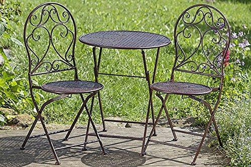 Set da giardino casa di campagna un tsich e due sedie Rini in metallo marrone 8060700
