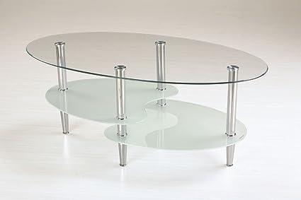 Couchtisch Dakoro 75, Farbe: Glas / Verchromt - Abmessungen: 45 x 110 x 60 cm (H x B x T)